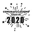 congratulations class 2020 fireworks explosion vector image