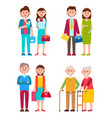 couples set of different ages vector image vector image