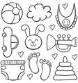 doodle of element baby set with toy vector image vector image