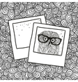Doodle pattern with black and white photos image vector image
