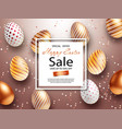 easter sale banner design with square frame rose vector image