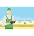farmer with tablet in a wheat field vector image