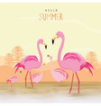flamingo pink animal bird cartoon vector image