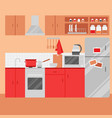 flat kitchen interior with furniture vector image