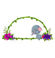 frame of bamboo and baby elephant vector image