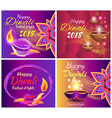 happy diwali festival of light 2018 set of posters vector image vector image