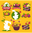 happy easter greeting logo signs colorful flat vector image