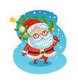 happy santa claus carries christmas tree xmas vector image vector image