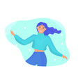 happy woman is spinning in dance fun colorful vector image