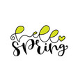 hello spring handwritting badge typography icon vector image
