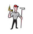 House painter with painting roller paint can vector image vector image