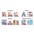 house rooms types color icons set vector image