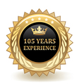 Hundred And Five Years Experience Badge vector image vector image