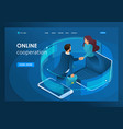 isometric business global online collaboration vector image