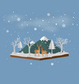 isometric landscape with deer family in winter vector image