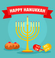 jewish happy hanukkah concept background flat vector image vector image