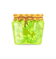 lime or lemon home cooked jam or marmalade in jar vector image