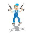 locksmith holds the electric drill vector image vector image