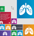 Lungs icon sign buttons Modern interface website vector image vector image