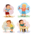 Morning clip art with young children vector image vector image