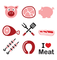 Pig pork meat - pink ham and bacon icons set vector image