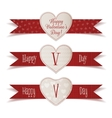 Realistic Valentines Day Banners with Ribbons Set vector image vector image
