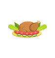 roasted turkey on a plate with garnish of vector image vector image