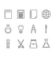 school and education icons set line style vector image vector image