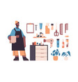 set barbershop tools and accessories with male vector image