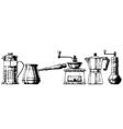 Set coffee making equipment vector image vector image