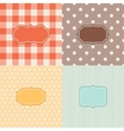 set four patterned backgrounds with frames vector image vector image