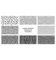 set hand-drawn black and white seamless texture vector image