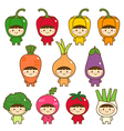 set kids in cute vegetables costumes vector image vector image