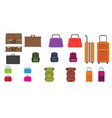 set of bags travel bag rucksack woman bag and vector image vector image