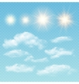 Sky creator Set realistic clouds and sun vector image vector image