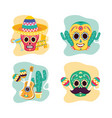 sugar skulls set decoration party celebration viva vector image