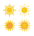 Sun icons set Collection yellow signs vector image vector image