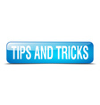 tips and tricks blue square 3d realistic isolated vector image vector image