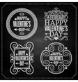 valentines day chalk set vector image vector image