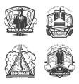 vintage monochrome smoke emblems set vector image vector image