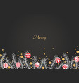 white pine leaves and christmas decoration balls vector image