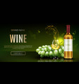 white wine bottle and glass alcohol vine drink vector image