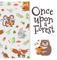 Wild cartoon animals banner cute bear fox mouse