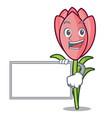 with board crocus flower character cartoon vector image vector image