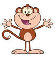 happy monkey cartoon character with open arms vector image