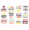 12 children s logo with handwriting happy day vector image