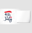 4 july independence day usa lettering poster vector image vector image