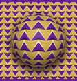 ball with a purple arrows pattern rolls along vector image vector image