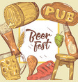 beer festival hand drawn advertising poster vector image vector image