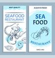 best quality seafood restaurant banner set vector image vector image